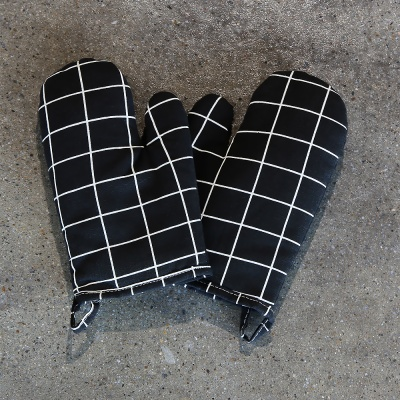 스트라이프 주방장갑 2개세트 (블랙)