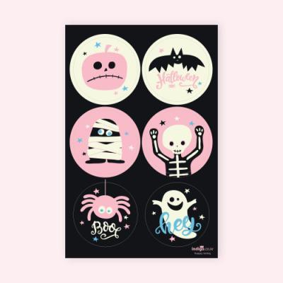 할로윈 핑크 원형 키트 라벨 (4개)