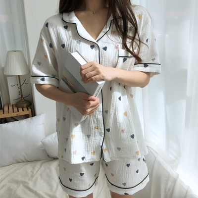 루즈핏 거즈 하트 잠옷 여름 홈웨어