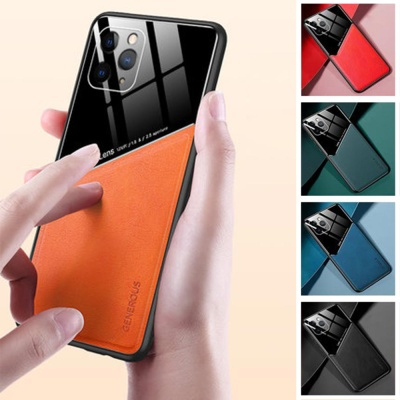아이폰 11 pro max 컬러 가죽 글라스 TPU 범퍼 케이스