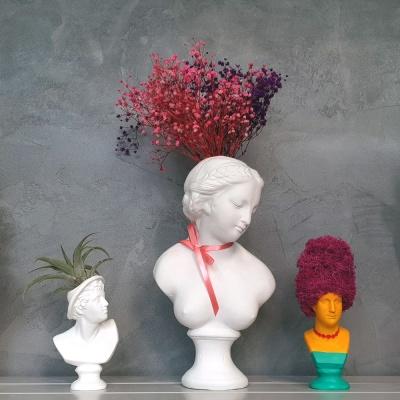 비너스여인 중형 석고상화분+스타티스 꽃+리본 식재 포함