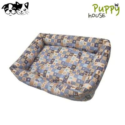퍼피하우스 사각방석 플래드 (블루) (강아지 방석)
