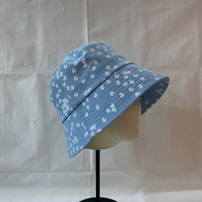 Flower Denim Bucket Hat