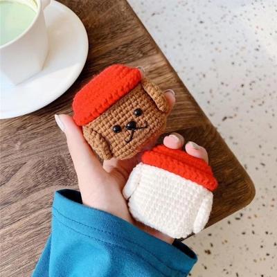 에어팟케이스 댕댕이 뜨개질 철가루스티커 349 브라운