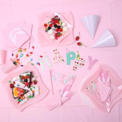 칼라 파티접시 웨이브 19cm -핑크(6입)