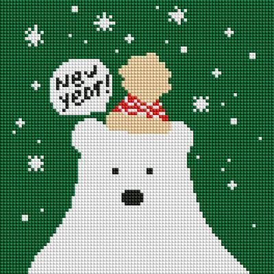 북극곰 (캔버스형) 보석십자수 25x25