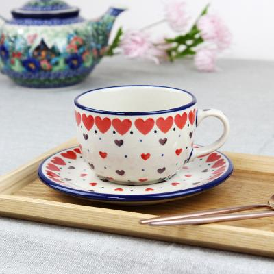 폴란드그릇 아티스티나 티잔&소서세트 200ml 패턴2108