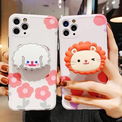 아이폰11 PRO X SE2 8 실리콘 그립톡케이스 사자 푸들