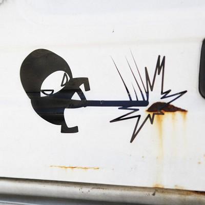차량 파손 닌자스티커 데칼시리즈  찌글 닌자스티커