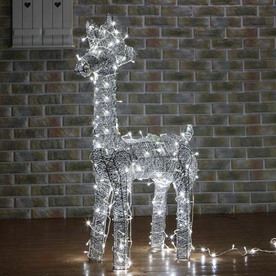 100cm 크리스마스 LED 실버 반짝이 사슴 장식 (대)