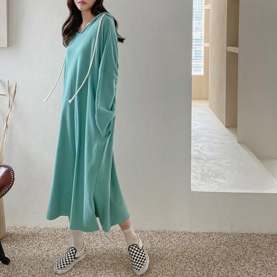 Hooed Cotton Boxy Long Dress