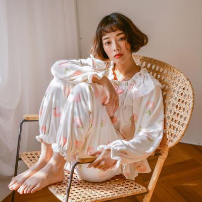 [쿠비카]포근한 극세사 밴딩넥 투피스 여성잠옷 W391
