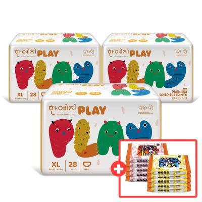 PLAY 기저귀 특대형 3팩(총 84입)+비데물티슈10팩