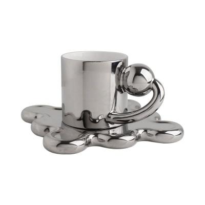 디자인 물결 세라믹 머그컵&티코스터 세트 250ml