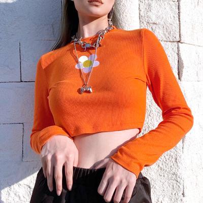 UP 오렌지 플라워 크롭 티셔츠