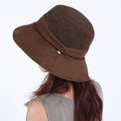 패션 버킷햇 라피아햇 여성 여름 창넓은 모자 브라운