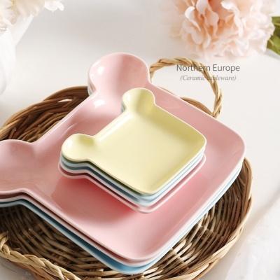 파스텔 곰돌이 간식 나눔접시 예쁜그릇