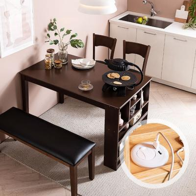 [채우리] 플러그인 4인 수납 식탁 세트(의자/벤치)
