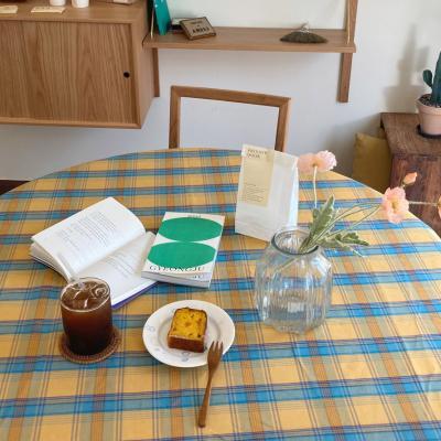 에블린 빈티지 체크 방수 식탁보 4인정사각