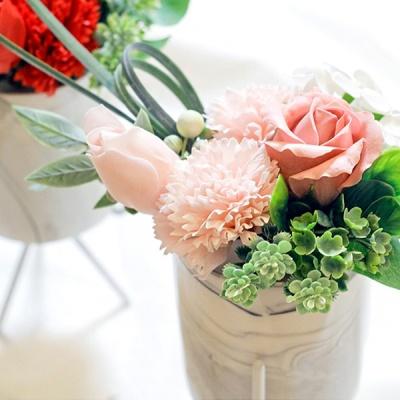 조화 카네이션 로즈 비누꽃 마블 스탠드 화분