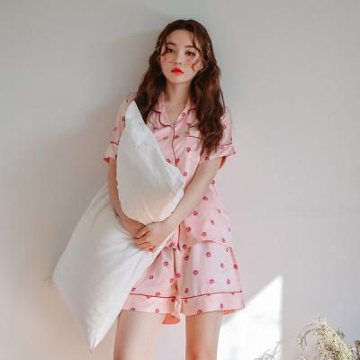 [쿠비카]DTY 파이핑 반팔 카라형 투피스 여성잠옷W306