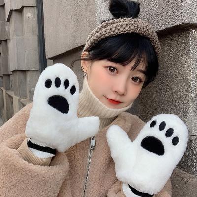 라코 귀여운 발바닥 겨울 털장갑