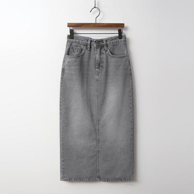 Grey Denim Long Skirt
