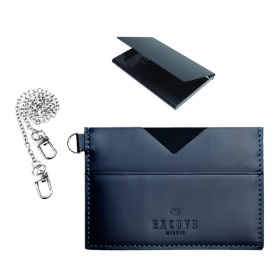익스큐브 V1 카드지갑 명함케이스고급체인세트 네이비