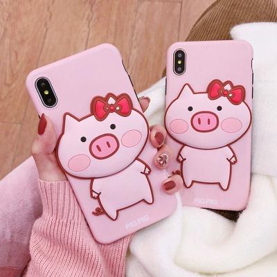 아이폰11 프로 맥스 XR XS 8 7 핑크 돼지 젤리 케이스