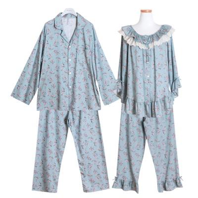[쿠비카]플라워 이중 프릴넥 투피스 커플잠옷 WM234
