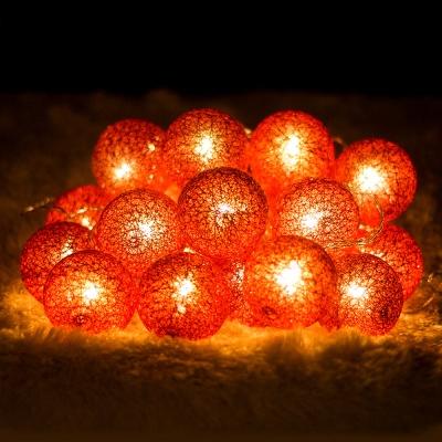 20p LED 코튼볼 레드전구(배터리) (점멸有)