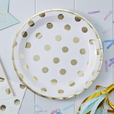골드 폴카도트 종이접시 Gold Polka Dot Paper Plates