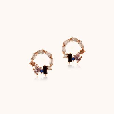 제이로렌 M03303 퍼플큐빅 라운드 로즈골드 귀걸이