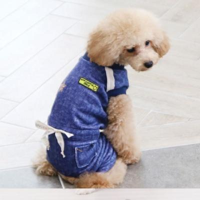 강아지겨울옷 데님본딩올인원