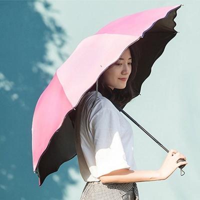 핑크벚꽃우산 비 맞으면 벚꽃이 피어나는 3단우산