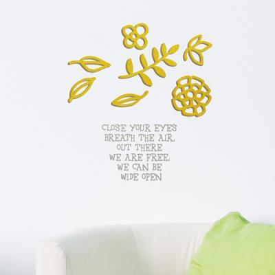 [우드스티커] 귀여운꽃장식 (컬러완제품) - 입체우드 월데코 포인트 나무스카시 벽장식