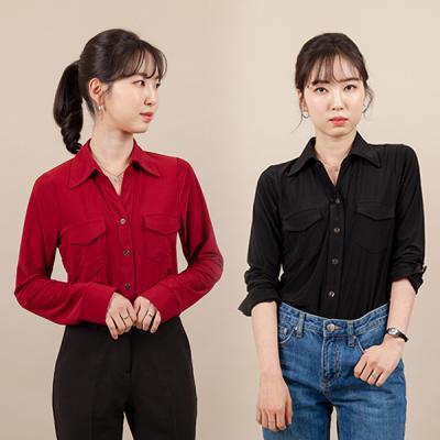 여성 스판 셔츠