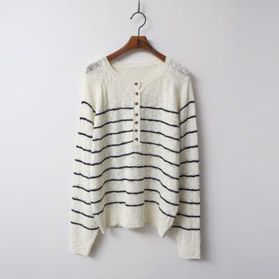 Boucle Stripe Button Knit