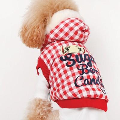 강아지겨울옷 캔디체크점퍼