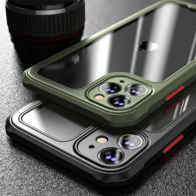 아이폰 11 pro max 컬러 사각 범퍼 투명 하드 케이스