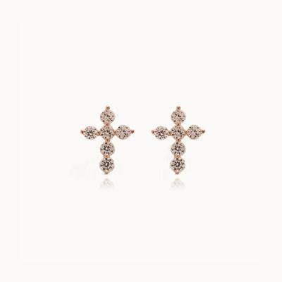 제이로렌 M03453 행운 실버 큐빅 십자가 귀걸이