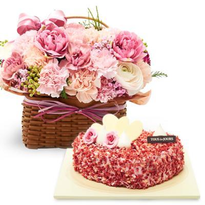 [어버이날]뚜레쥬르 딸기케익+프리미엄 카네이션바구니[꽃배달,케익배달,카네이션,어버이날,스승의날,생일,감사,기념일,이벤트]