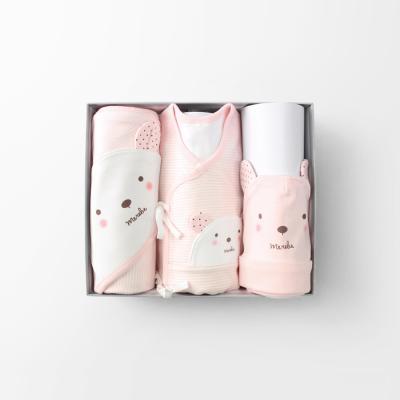 곰돌이W 출산선물세트(저고리+속싸개+모자)_사계절용