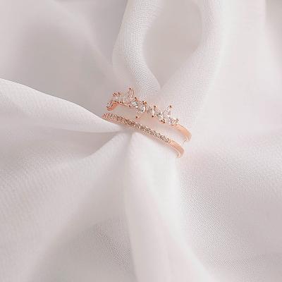 제이로렌 R0558 눈꽃라인 두줄 큐빅 오픈 반지