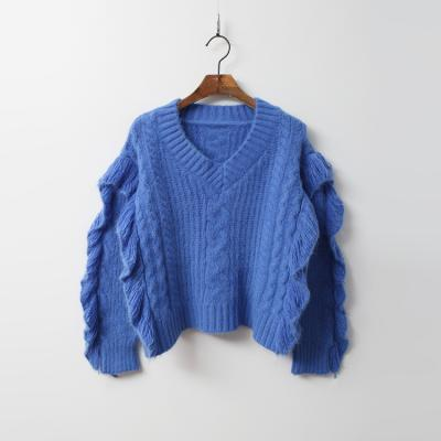 Wing Frill V-Neck Crop Knit