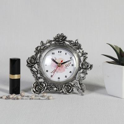 엔틱메탈 빈티지 장미 주석 탁상시계-2문자판