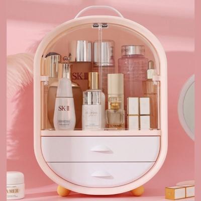 핑크 깜찍한 디자인 화장품 정리대 투명 도어 서랍