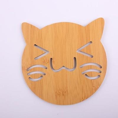 대나무 냄비받침(고양이)