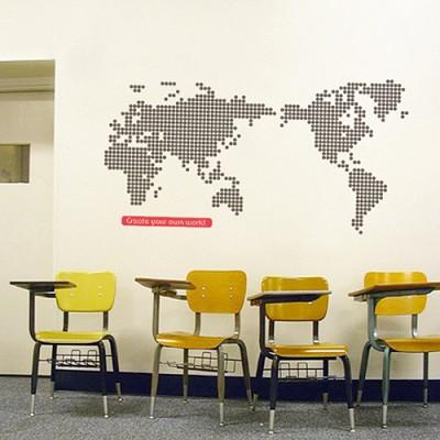 빠띠라인 디자인 스티커 a119_World map