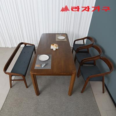 구시 고무나무 원목 6인 벤치형 식탁세트